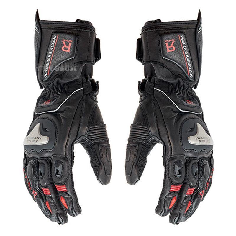 Vemar vollfinger Carbon-fahrrad-motorrad + metall Motorrad Handschuhe Echtleder Männer Radfahren Racing motocross Guantes Moto luvas