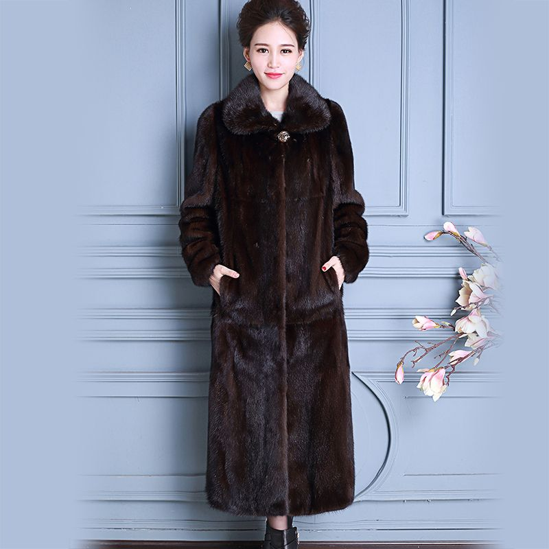 Nerazzurri Real Mink Fur Coat China Long Sleeve Extra Long Luxury Ladies Natural Mink Coats Women Overcoat Plus Size 5Xl 6XL 7XL
