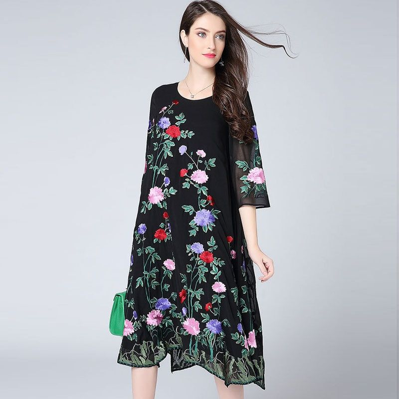 High-end spring women Chinese style floral midi dress embroidery elegant loose lady A-line plus size mesh party dress M-4XL