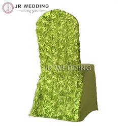 100 pcs Gratis Pengiriman Colorful Disesuaikan 3D Rosette Kembali Spandex Strech Kursi Penutup untuk Pesta Pernikahan Dekorasi