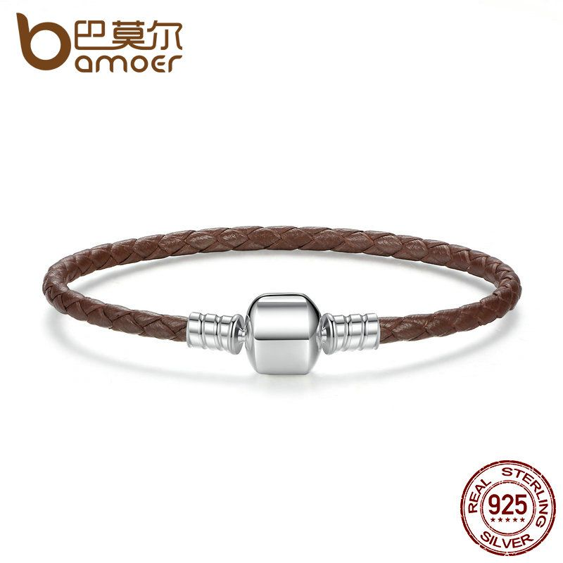 BAMOER Authentic 925 Sterling Silver Brown Braided Rope Genuine Leather Snake Chain Bracelets for Women Fine Jewelry PAS909