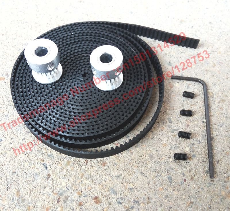 2pcs 16 teeth GT2 Timing belt Pulley Bore 5mm + 2 Meters GT2 timing Belt Width 6mm 2GT timing belt pulley free shipping