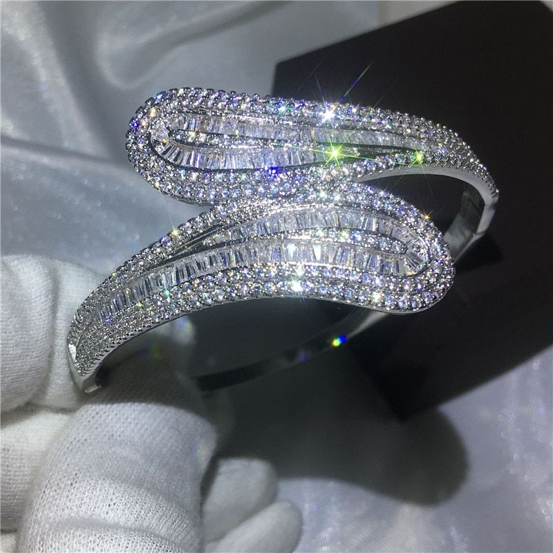 Fashion 5A cubic zirconia T stone Baguette bracelet Big shinning bangle White Gold Filled womens accessaries