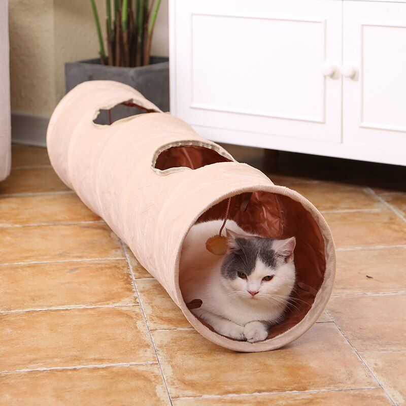 Pet Cat Toys Big Long Cat Tunnel with Ball Foldable Suede Material Funny Cat Toys 120cm Dia 25cm Kitten Play 2 Hole Pet Supplies