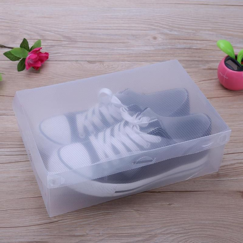10pcs Transparent Clear Plastic Shoe Box Storage Shoe Boxes <font><b>Foldable</b></font> Shoes Case Holder Transparent Shoes Organizer Cases Boxes