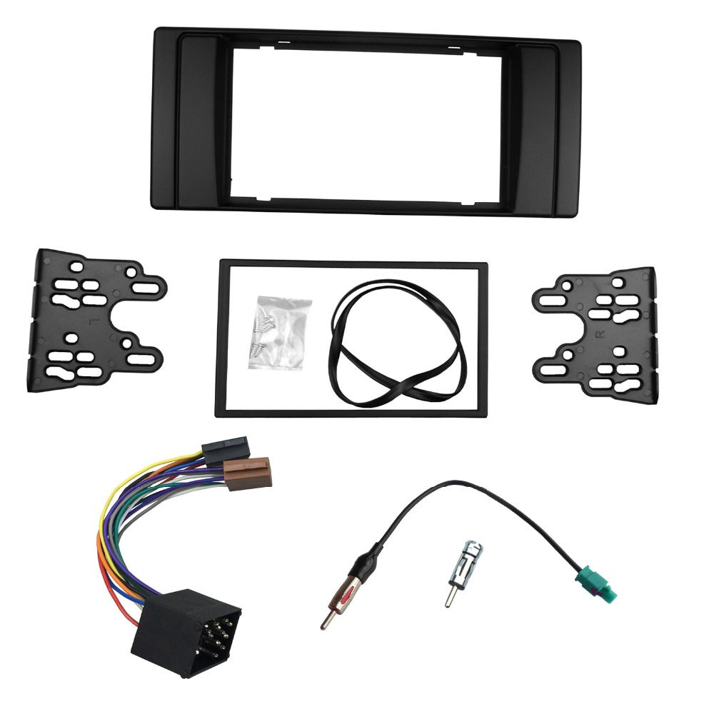 For BMW Series 5 E53 E39 Radio DVD Stereo Panel Dash Double Din Fascia Trim Kit Frame with Wiring Harness Antenna Aerial Adaptor
