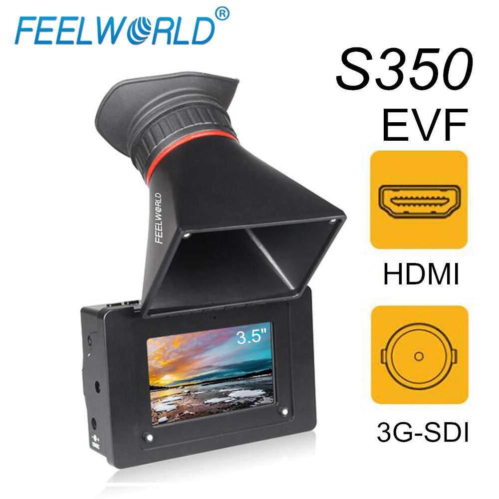 FEELWORLD S350 3,5 EVF 3G-SDI HDMI Elektronische View Finder 3,5 HD 800x480 LCD Display Lupe Lupe für DSLR Kamera