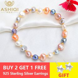 ASHIQI Real Natural Freshwater Baroque Pearl Bracelets & Bangles For Women Crystal Beads Jewelry Gift