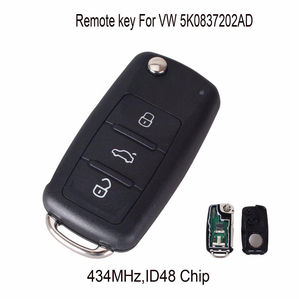 Keyyou 434 мГц ID48 чип 5k0837202ad автомобилей дистанционного ключа для Volkswagen Golf Passat Tiguan Мужские поло jetta Жук hella
