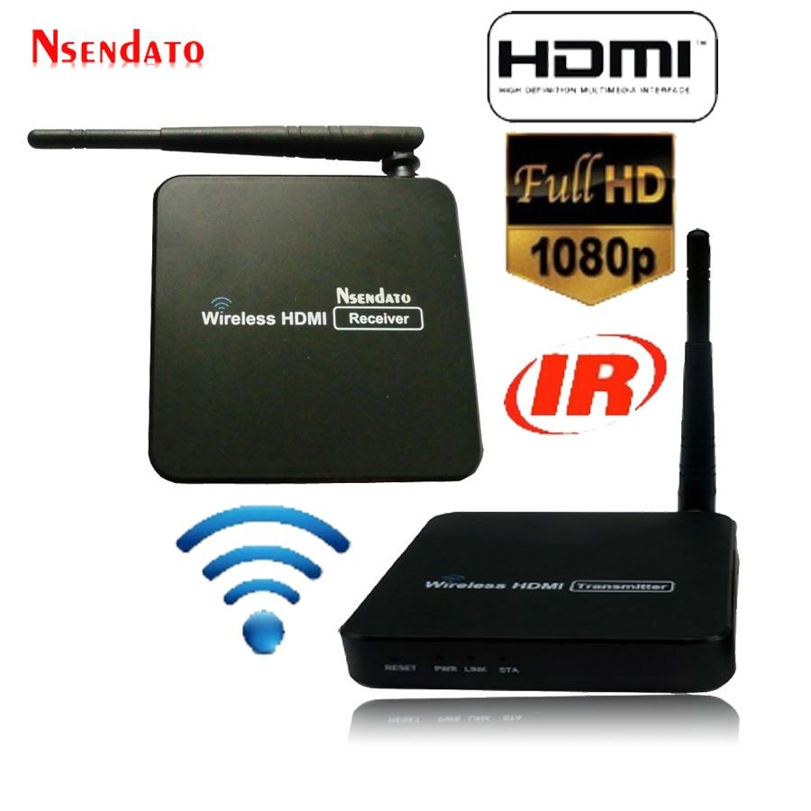 Nsendato 1080P HDMI H.264 Wireless Extender with IR remote 5.8GHz WIFI HDMI Video Transmitter Sender Receivers Up to 100m