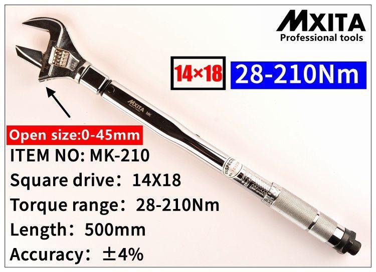 Clé dynamométrique réglable MXITA 14X18 28-210Nm clé dynamométrique à tête insérée clé dynamométrique Interchangeable