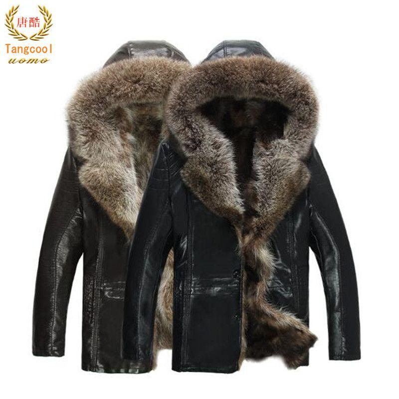 Größe 3XL 4XL 5XL Mens Echtes Leder Jacken Realer Waschbärpelz Mäntel Lammfell Winter Parkas Schnee Kleidung Warme Thicking