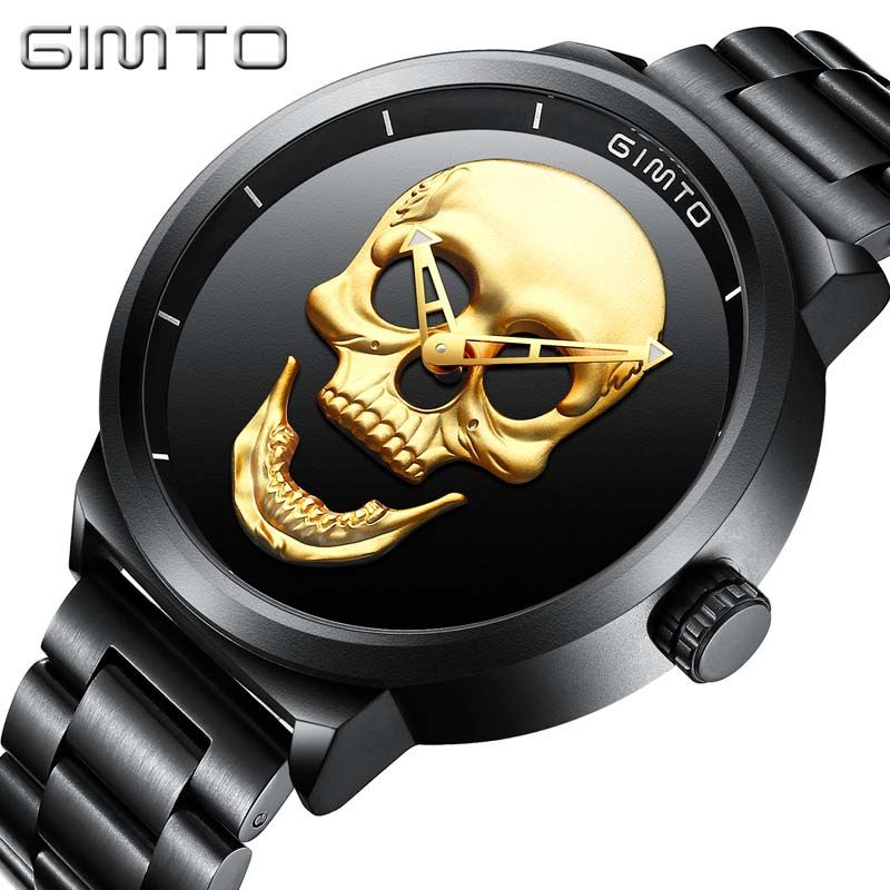 Watch GIMTO Male Unique Design Skull Watches Men Luxury Brand Sports Quartz Military Steel Wrist Watch Men relogio masculino
