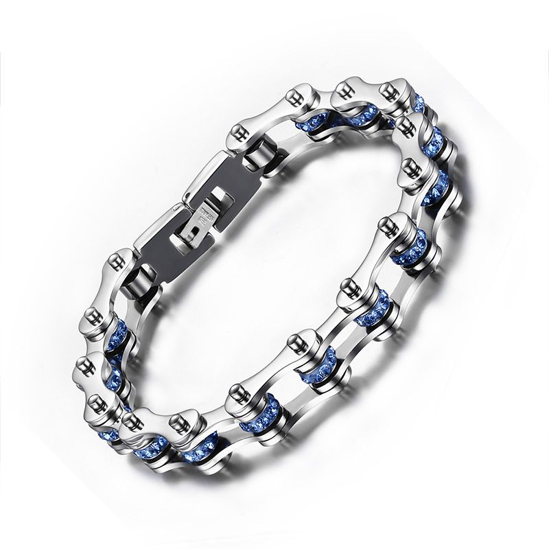 Men's Woman's Polished Stainless Steel Blue Black Cubic Zirconia Bicycle Link Chain Bracelet Jewelry Gift- 9 inches (10mm Wide)