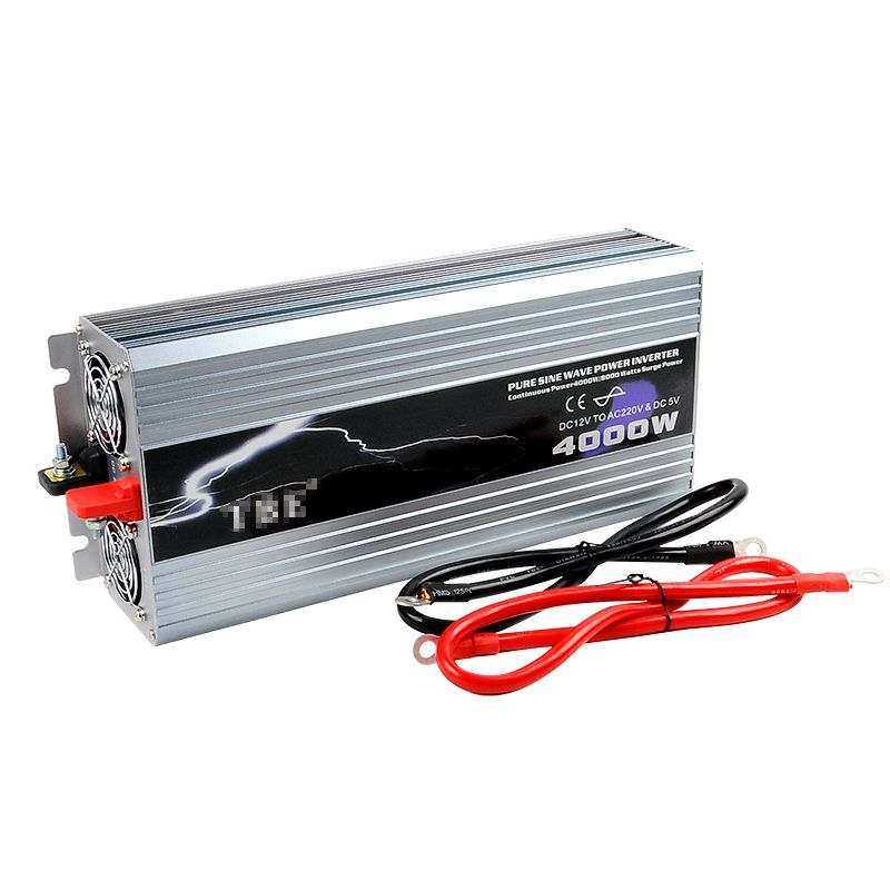 Power Inverter 4000W Pure Sine Wave Inverter DC 12V/24V/48V to AC 110/220V Car Converter Solar Power Inverter Peak Power 8000W