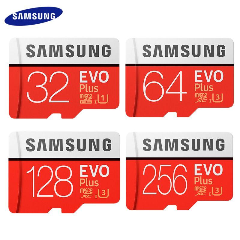 Carte mémoire SAMSUNG EVO PLUS 256 go haute vitesse 100 mo/s Micro SD classe 10 U3 TF cartes UHS-I 128G 64 go 32 go carte Micro SD