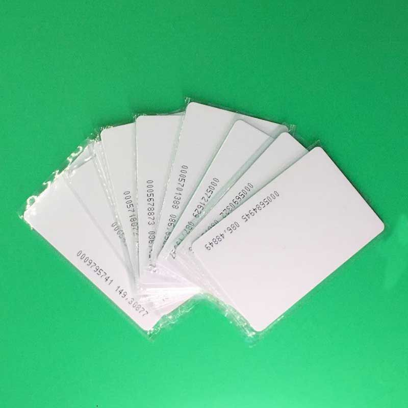 Free Shipping 100pcs 125KHz EM RFID Proximity Induction Thin Card EM4100 Smart Cards 0.8mm PVC Card For Access Control System
