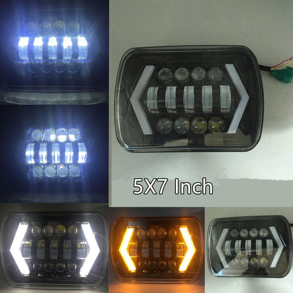 Arrow Style LED Headlight 7x6 5x7 Inch Projector White DRL Yellow Turn Signal Black For Jeep Wrangler YJ Cherokee XJ Comanche MJ