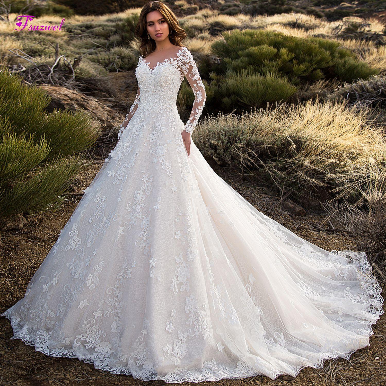 Fsuzwel Glamorous Langarm Gericht Zug Spitze A-Line Hochzeit Kleid 2019 Boot-ausschnitt Taste Vintage Hochzeit Kleid Vestido de Noiva
