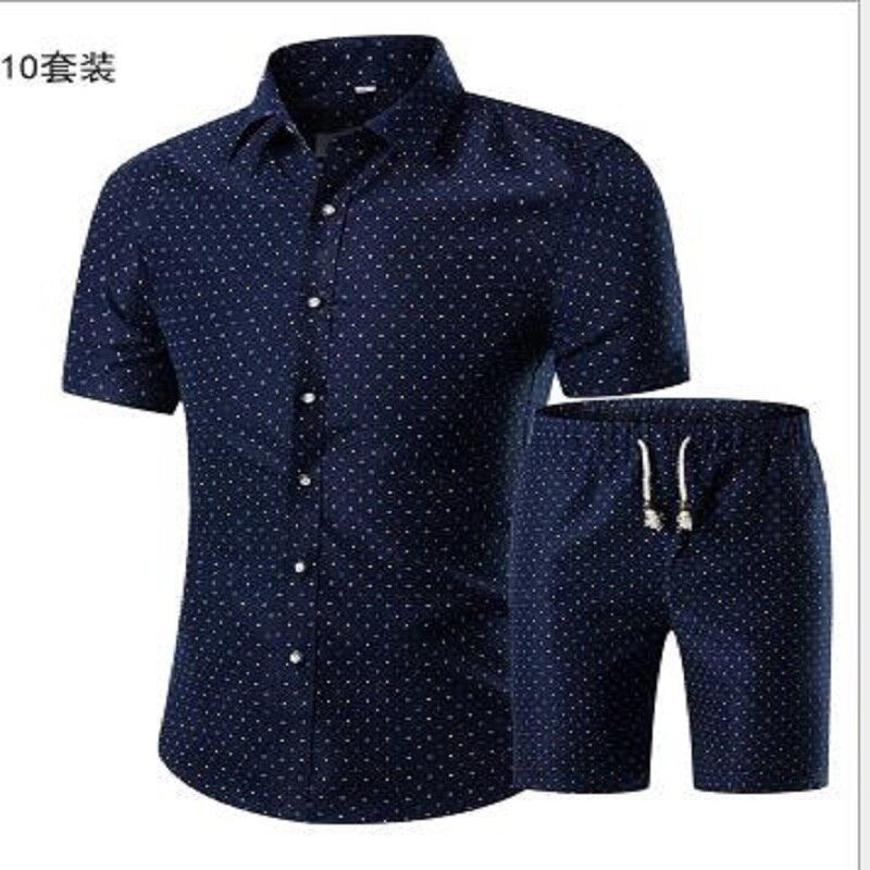 20186677 Summer Men Printed T-shirt + Shorts Decorative Pattern Two Piece Sets Plus Size L--5XL