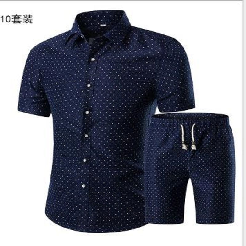 20186677 Summer Men Printed T-shirt + Shorts Decorative Pattern Two Piece Sets Plus Size L--5XL