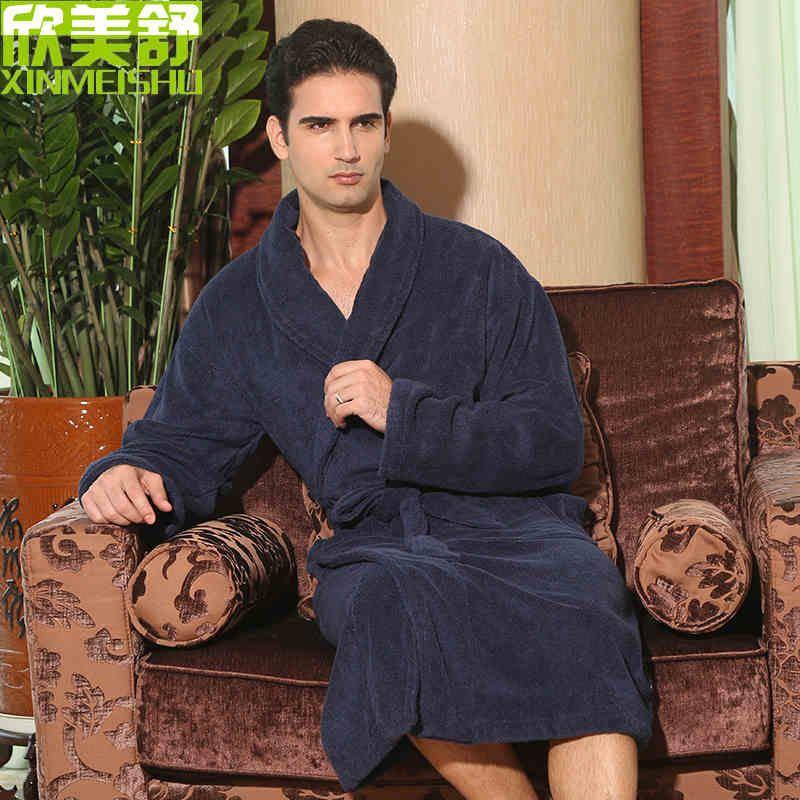 Бесплатная доставка, большой размер Мужская 100% хлопок халат утолщение халат зимняя одежда для сна