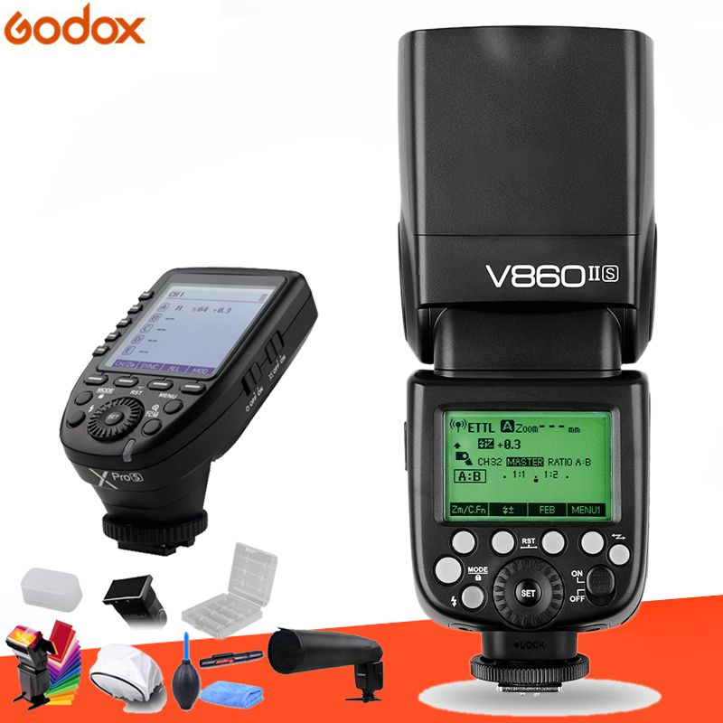 Godox V860II GN60 i-TTL HSS 1/8000 s Speedlite Flash w/Li-Ion Batterie + Xpro Flash sender für Canon Nikon Sony Fuji Olympus