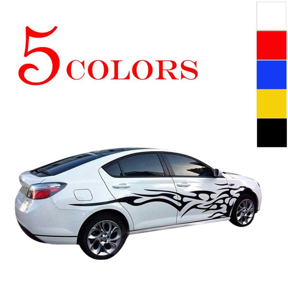 Universel 1 paire voiture autocollants corps entier feu flamme décor vinyle Stickers voiture style autocollants pour camion Auto