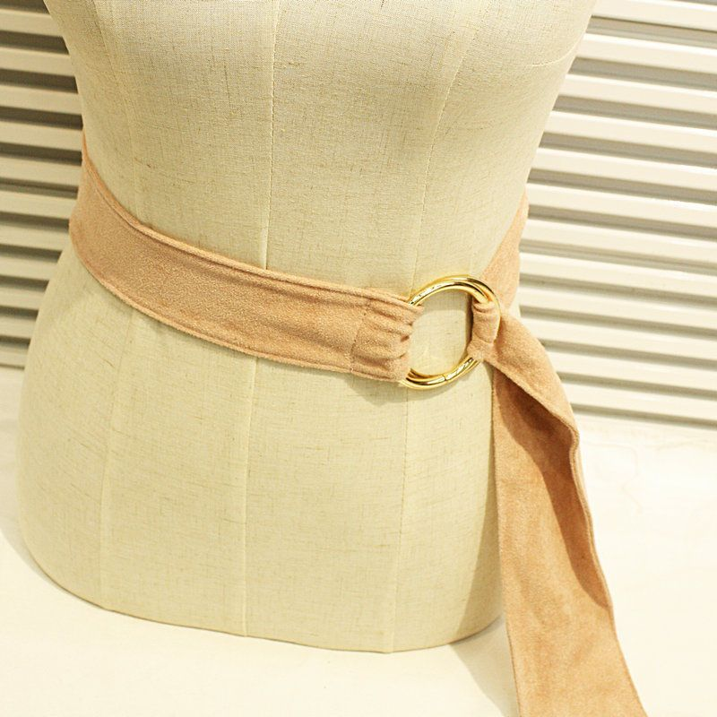 Fashion Women Belt Double Metal Rings Suede Knotted Belt Dress Decoration FS99