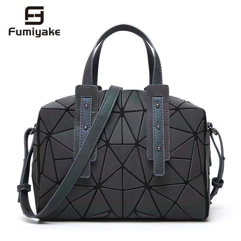 Neue Mode Frauen Leucht sac Hologramm Tasche Diamant Tote Geometrische Stepp Schulter Taschen Saser Einfachen Klapp Handtaschen bolso 2018