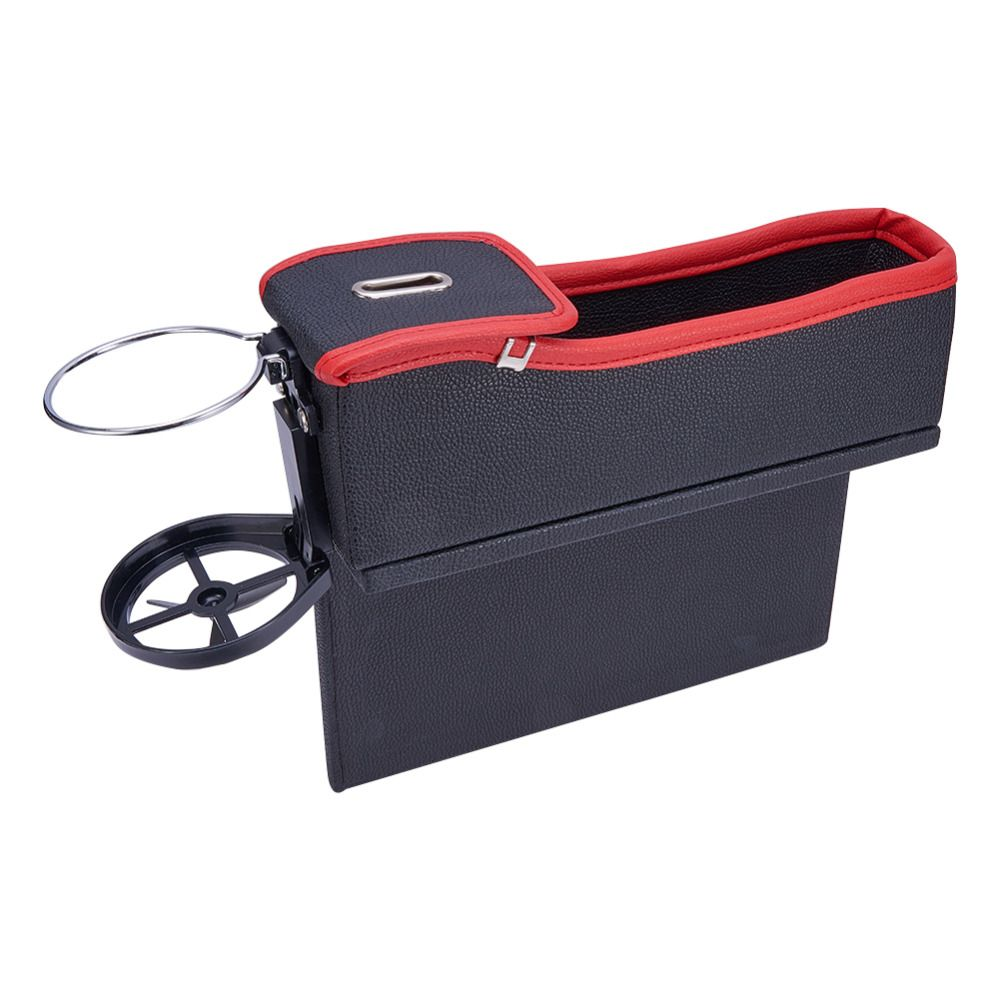 Functional Drink Holder Car Storage Box Coin Organizer PU Leather Car Seat Gap Boxes Key Coin <font><b>Collector</b></font> Cup Holders