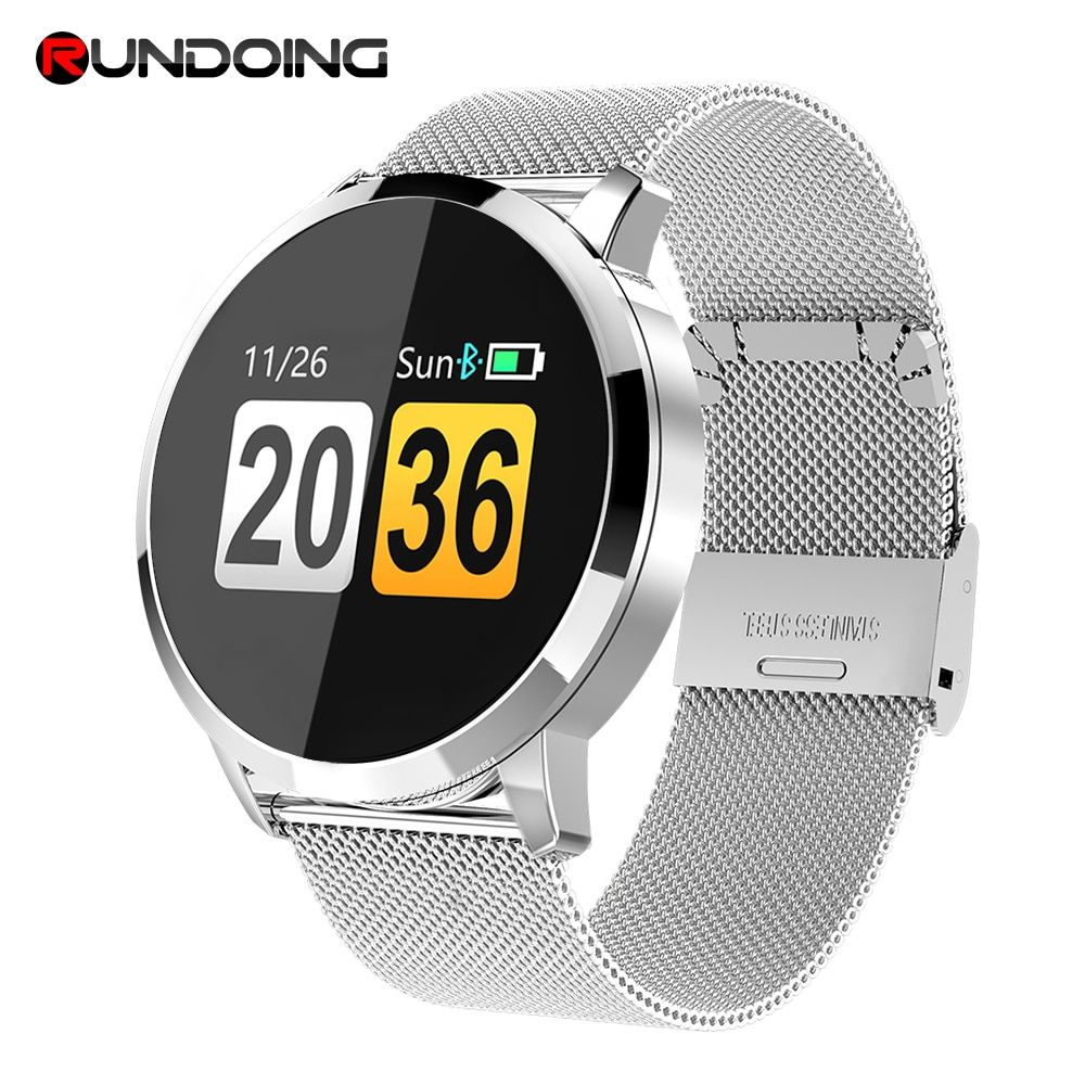 RUNDOING Q8 Smart Watch OLED Color Screen Smartwatch women Fashion Fitness Tracker Heart Rate monitor