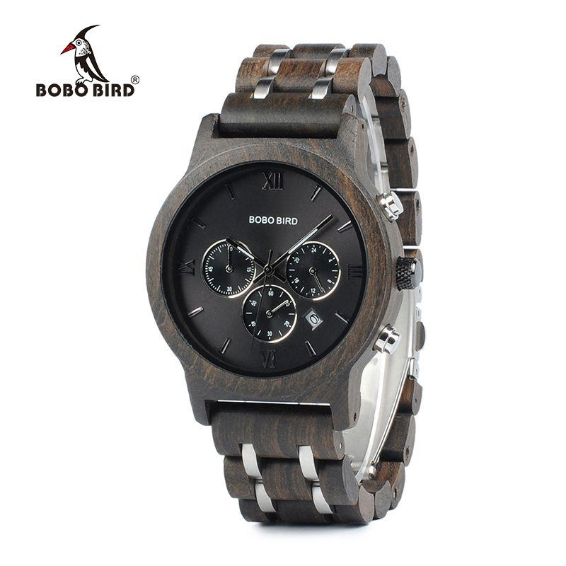 BOBO BIRD Chronograph Men Watch relogio masculino Calendar Quartz Watches Wood Luxury Timepieces in Wooden Gift Box