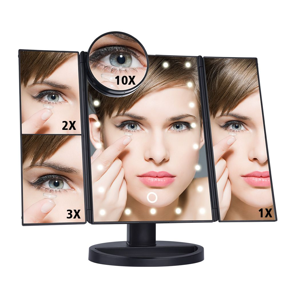 22 LEDs Touch Screen Light Makeup Mirror 3 Folding Adjustable 1X/2X/3X/10X Magnifying Mirrors Table Desktop Makeup Vanity Mirror