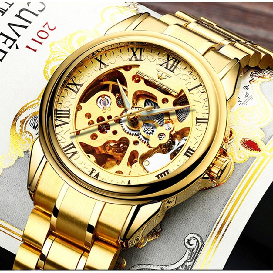 FNGEEN Men Luxury Skeleton Automatic Winding Mechanical Watches Gold Stainless Steel Waterproof Wristwatch Male Time <font><b>hours</b></font> 8866G