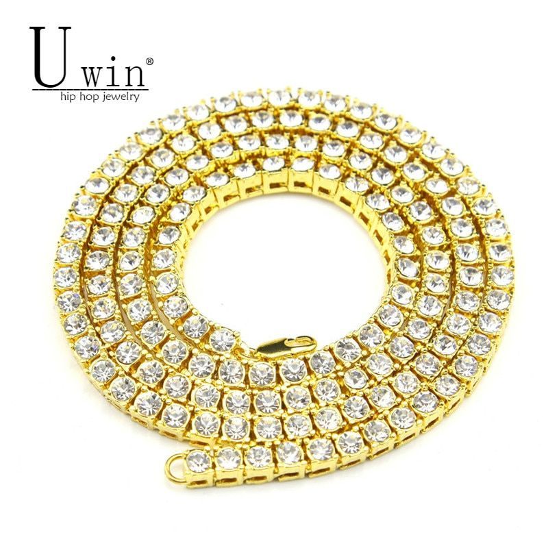 UWIN Mens Hip hop Necklace Iced Out 1 Row Rhinestone Choker Bling Crystal Tennis Chains Necklace 18inch-32inch Drop shipping
