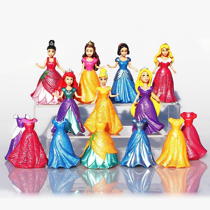 7pcs/set Snow White Princess Action Figure Ariel Rapunzel Merida Cinderella Aurora <font><b>Belle</b></font> Princess Sexy Toys Girls Doll Dress #E