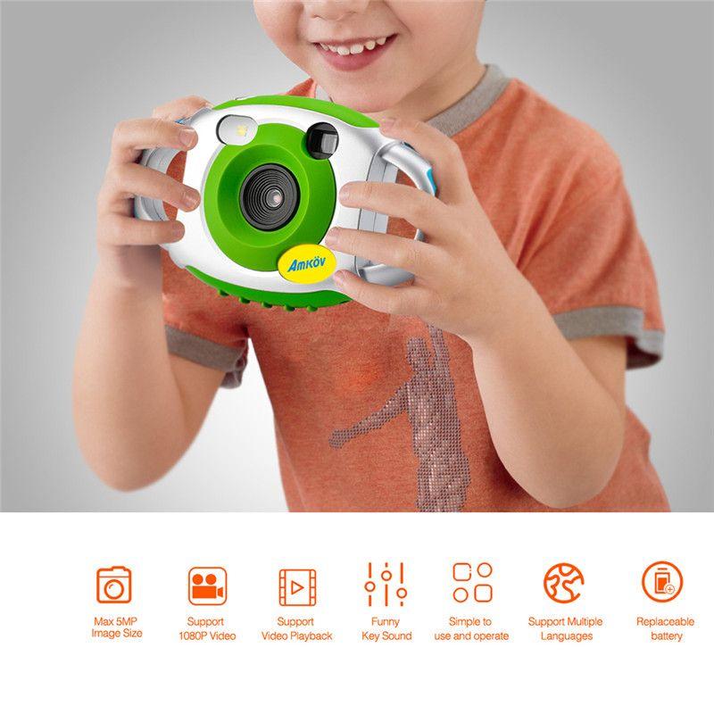 AMKOV Mini Kind Kameras 5MP HD Projektion Digital Kamera Fotografica Digitale Portable Niedliche Hals Kind Fotografie Video Kamera