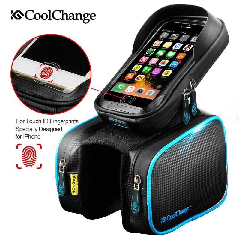 CoolChange <font><b>Bicycle</b></font> Frame Front Head Top Tube Waterproof Bike Bag&Double IPouch Cycling For 6.0 in Cell Phone Bike Accessories
