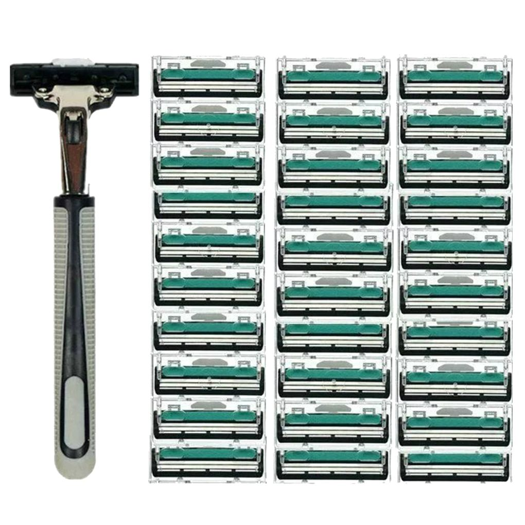 Men Handle Shaving Razor Shaver Replaceable Straight Manual Razor Beard Trimmer with 30pcs Double Layers Razor Blades