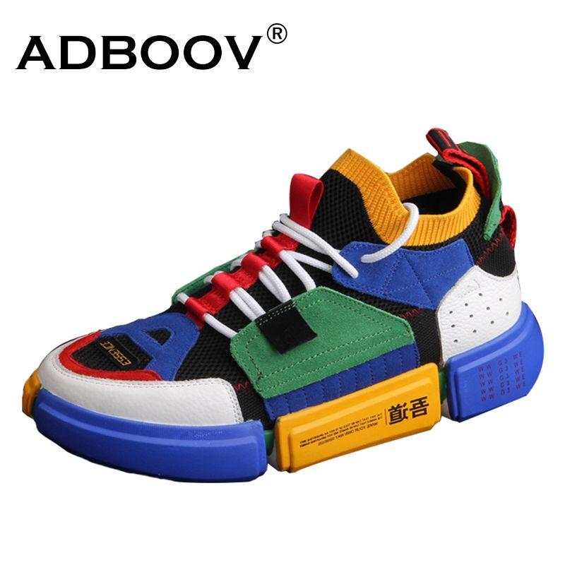 ADBOOV Marke Retro High Top Sneakers Männer Mischfarben Designer Schuhe Männer Freizeitschuhe Mode Socke Skateboard Schuhe