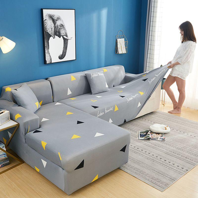 2 pièces housse de canapé d'angle housse de canapé élastique pour canapé sectionnel en forme de L housse de canapé Chaise Longue extensible housse de canapé en forme de L