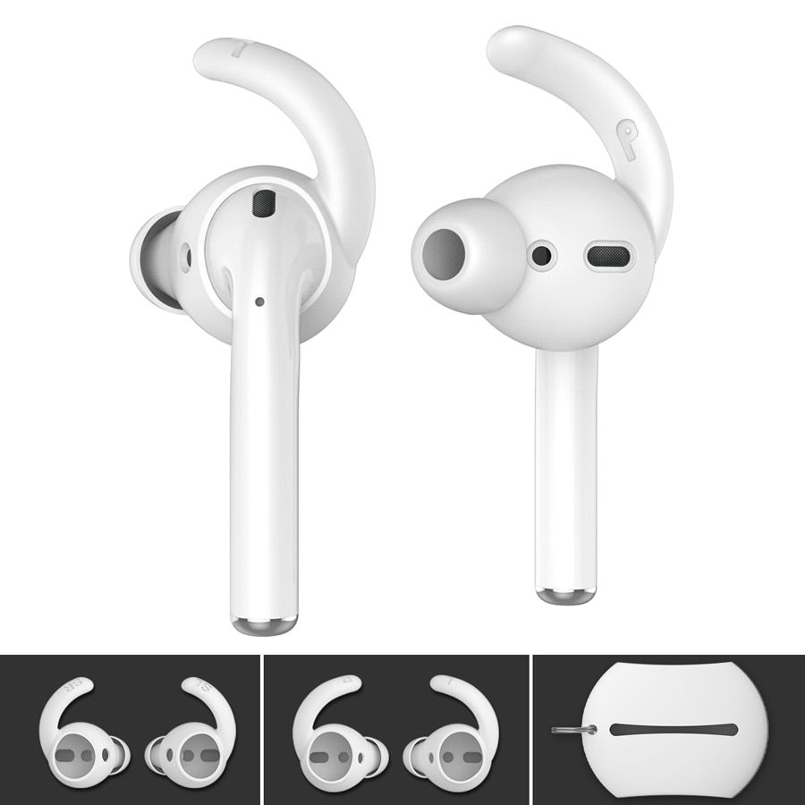 2 Pairs Ear Hooks Covers for Apple Airpods Silicone Cover Earbuds Tips Storage Pouch for Airpods Earpads Accessories