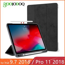 For iPad 2018 Case Pencil Holder for iPad Pro 11 Case Soft Silicone Back Trifold Stand Smart Case for iPad 9.7 2018 Funda Coque