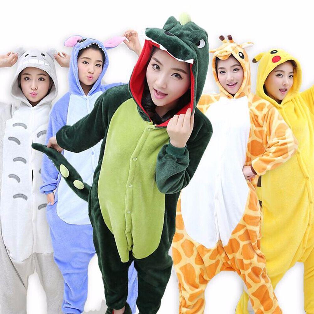 2018 Wholesale Women Pajamas Animal Stitch Unicorn Panda Pajamas Adult Unisex Pajama Sets  Winter Warm Flannel Sleepwear Hooded