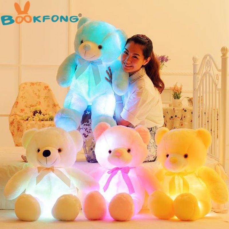Bookfong 50 см творческий загорается светодиодный Мишка мягкая Животные плюшевые игрушки красочные светящиеся Teddy Bear Рождественский подарок дл...