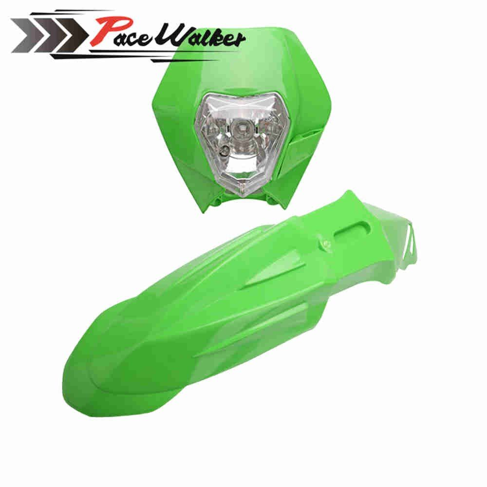 Motorcycle Dirt Bike Motocross Supermoto Universal Headlight Fairing+Front Fenders For Honda Yamaha Suzuki KTM DRZ KX YZ