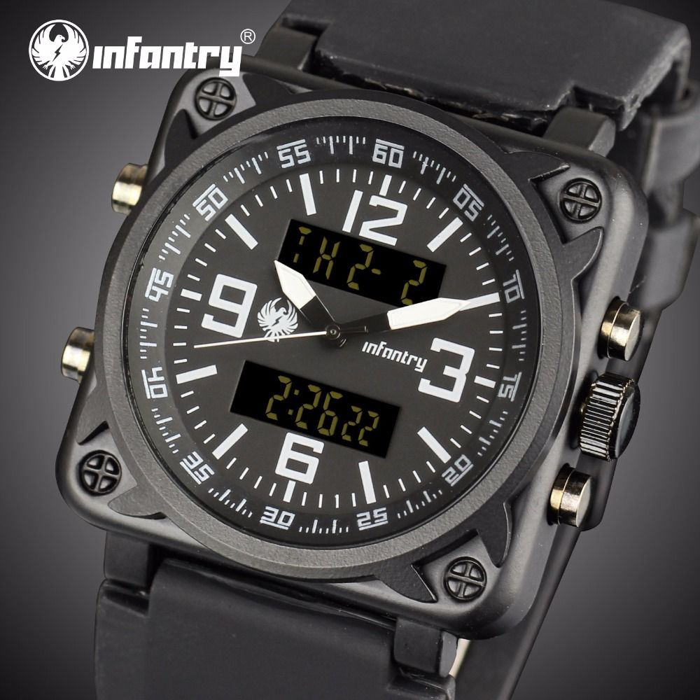 INFANTRY Watches Men Luxury Square Face Chronograph Aviator Military Quartz-watch Rubber Strap Relogio Masculino Dropshipping