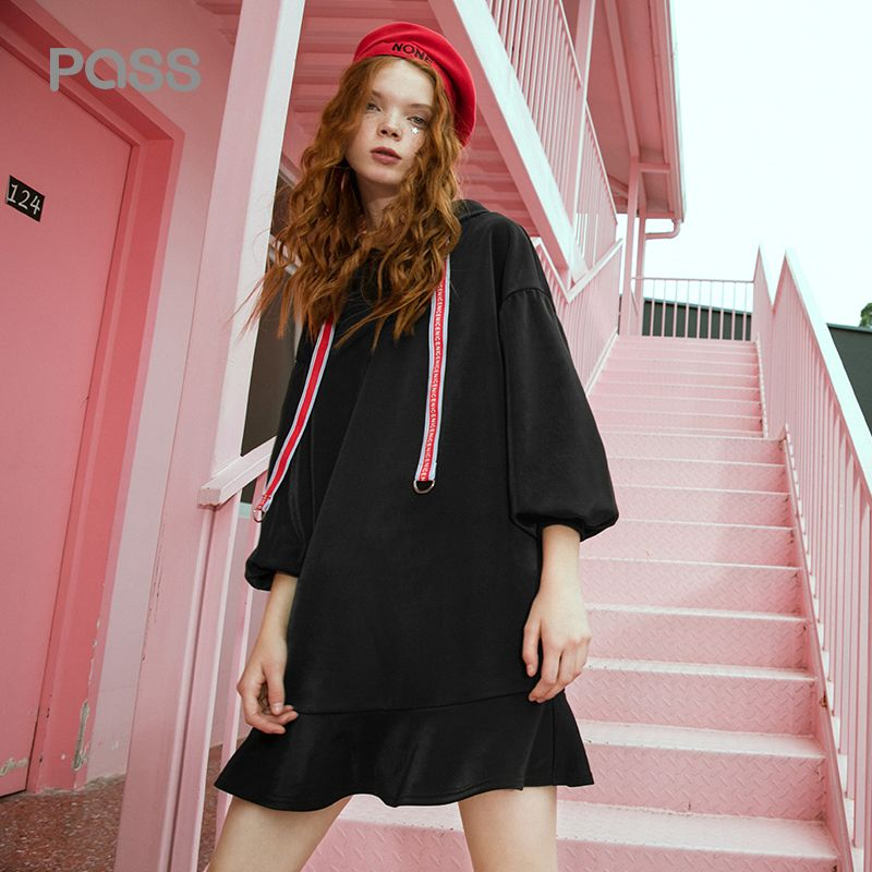 PASS Women Dress Long Sleeves Hooded Solid Dress For Women Leters Printing Knee Length Straight Dress