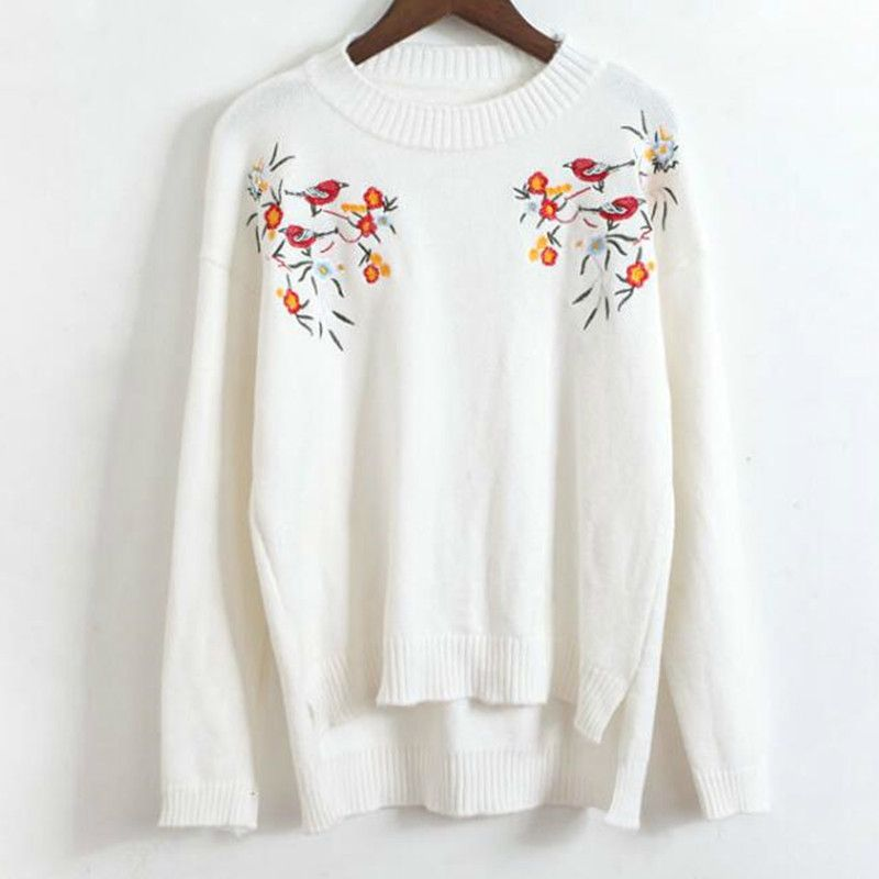 SZMXSS New Arrival Embroidery Knitted Sweater Fashion Women Sweaters And Pullovers Long Sleeve Casual Loose Floral Sweater